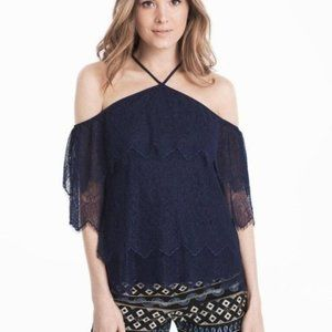 Whbm navy lace tiered cold shoulder halter xxs